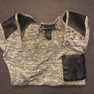 Lane Bryant Grey/Black Top Faux Leather